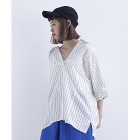 メルロー ストライプ柄スキッパーシャツ レディース ホワイト FREE 【merlot】