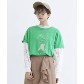 (merlot/メルロー)◆ニシワキタダシさんコラボ◆デザインプリントTシャツ/レディース グリーン