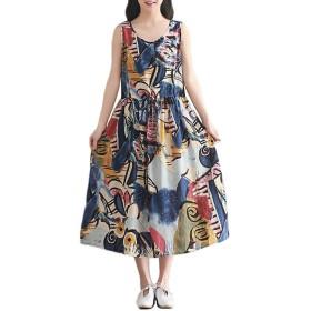 [えみり] レディース チュニック ワンピース ノースリーブ 花柄 プリント ドレス 体型カバー コットン 夏 ロングスカート ゆったり 細ベルト付き カジュアル ブルーM