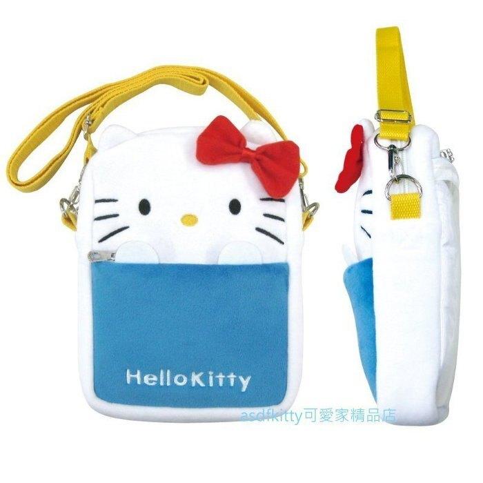 asdfkitty*賠錢出清特價-KITTY造型絨毛斜背包/側背包/手機包/收納包/護照包-日本正版商品