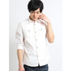 【semantic design:トップス】オックスムラプリント レギュラーカラー7分袖シャツ