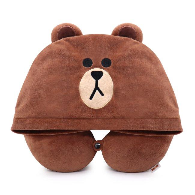LINE FRIENDS 連帽造型U型枕 熊大