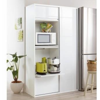引き戸スライド扉で隠せる光沢仕上げキッチン家電収納庫 奥行45cmタイプ 703502