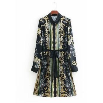 プリントのワンピースヒロイン春モデル欧米風開襟長袖ベルトリボン飾ファッションでロングスカート 長袖ワンピース 花柄 ヴィンテージ調