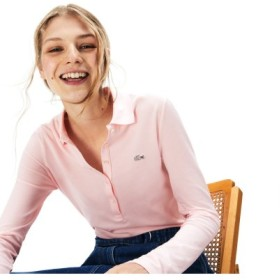 (LACOSTE/ラコステ)ストレッチ ポロシャツ (長袖)/レディース ピンク 送料無料