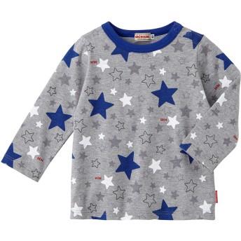 ミキハウス 【アウトレット】働く車&星柄プリント 長袖Tシャツ グレー