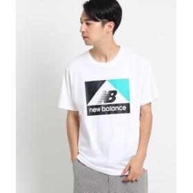 (OPAQUE. CLIP/オペークドットクリップ)new balance コットン(綿)ボックスロゴコンフォートTシャツ/メンズ ホワイト×ブルー(101)