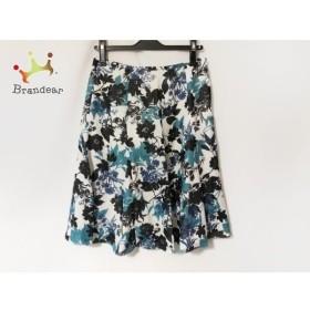 ハムステッド Hampstead スカート サイズ40 M レディース 美品 白×黒×ブルー 花柄 新着 20190819