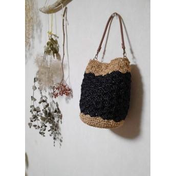 模様編みが可愛い ラフィア風かごバッグ