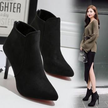 女性靴 レディース シューズ ブーツ ブーティー ショートブーツ アンクルブーツ ファッション ハイヒール レッドソール韓国風 履きやすい スエード プレーン シンプル コー