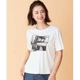 レリアン モノクロフォトプリントTシャツ レディース オフホワイト 7 【Leilian】
