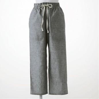 【レディース】 さらりと気持ちいい夏のコットン100%パンツ(8分丈) - セシール ■カラー:ブラック ■サイズ:M,L