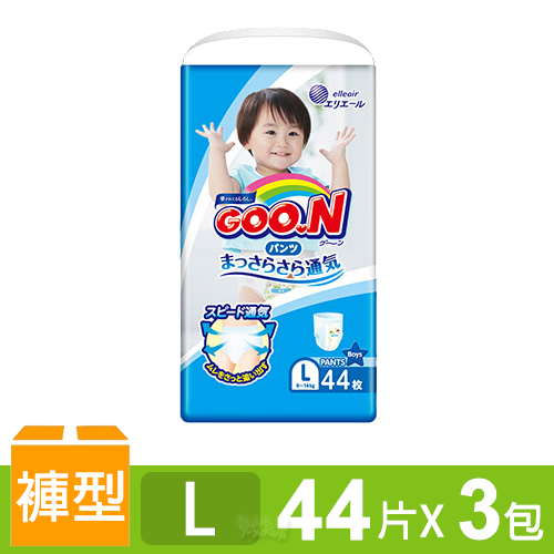 日本大王GOO.N 境內版透氣舒柔褲型尿布-男L 3包/箱