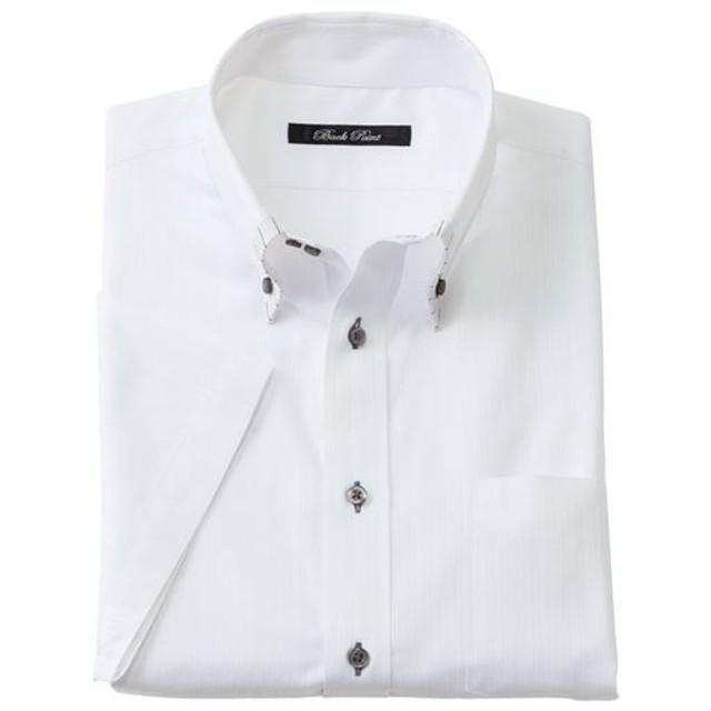 30%OFF【メンズ】 形態安定デザインYシャツ(半袖) - セシール ■カラー:ホワイト・ドビー ■サイズ:3L,4L,5L