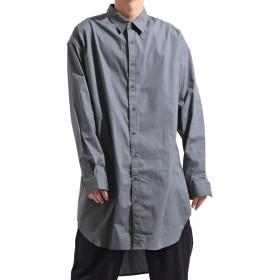 (バレッタ) Valletta メンズ ブロードシャツ ロング丈 長袖 ビッグ ワイド ロングシャツ ストリートモード [メンズ] グレー FREEサイズ