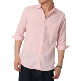 (アーケード) ARCADE メンズ 綿麻素材 7分袖 総柄 無地 白シャツ シャツ 麻 リネンシャツ カジュアルシャツ細身 タイト XL(LL) シャンブレーピンク