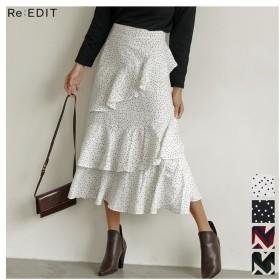 Re: EDIT 可憐に揺れる、デザインフリルスカート 螺旋フリルパターンフレアスカート ボトムス/スカート/ミニ丈(40~50cm) レッド L レディース 5,000円(税抜)以上購入で送料無料 フレアスカート 夏 レディースファッション アパレル 通販 大きいサイズ コーデ 安い おしゃれ お洒落 20代 30代 40代 50代 女性 スカート