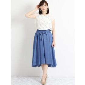 【m.f.editorial:スカート】杢調リボンイレギュラーヘムスカート 紺
