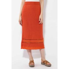 【60%OFF】 ローズバッド 透かし柄編みタイトスカート レディース オレンジ1 【ROSE BUD】 【セール開催中】