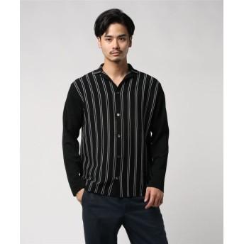ESTNATION / ウォッシャブルニットシャツ ブラック系その他/LARGE(エストネーション)◆メンズ ニット/セーター