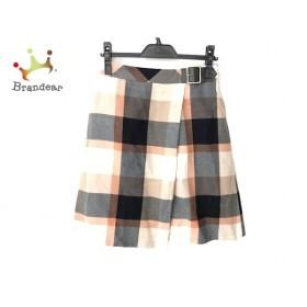 ブルーレーベルクレストブリッジ スカート サイズ38 M レディース 美品 白×オレンジ×マルチ 新着 20190819