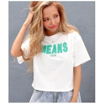 【45%OFF】 アナップ 刺繍ロゴクロップドTシャツ レディース ホワイト F 【ANAP】 【タイムセール開催中】