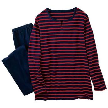 【レディース】 ボーダーTタイプパジャマ(綿100%) - セシール ■カラー:カーディナルレッド ■サイズ:M,L,LL,3L,5L,S