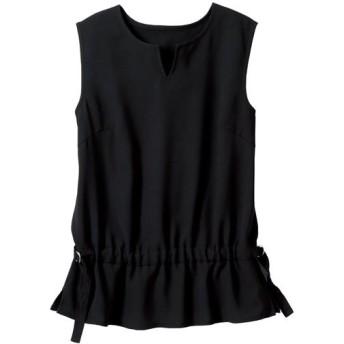 60%OFF【レディース大きいサイズ】 ノースリーブデザインシャツ(選べる2レングス) - セシール ■カラー:ブラック ■サイズ:LL,6L,4L