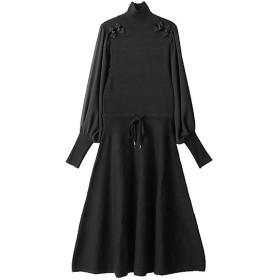 <PAMEO POSE/パメオポーズ> 【ご予約商品】Mandarin Knit Dress ブラック 【三越・伊勢丹/公式】