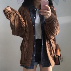 chic new coming ゆるやかな長袖 麻花 ニット セーター 2色