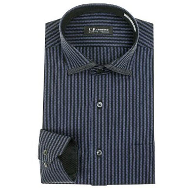 (YAMAKI official/山喜オフィシャル)U.P renoma 長袖 ショートカラーワイドカラーボタンダウンワイシャツ/メンズ ネイビー