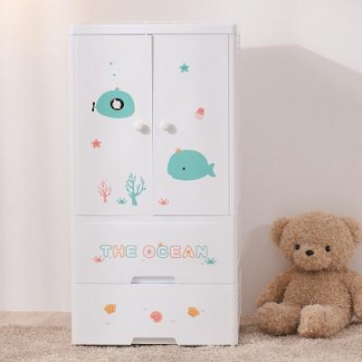 【日居良品】60面寬-海洋世界雙開門式兒童衣櫃/衣櫥收納櫃(114公分高-五層)