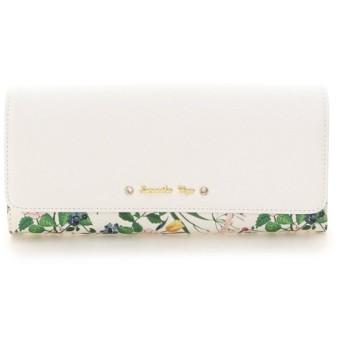 サマンサベガ 花柄ビジューリボン付きフラップ長財布 レディース ホワイト FREE 【Samantha Vega】