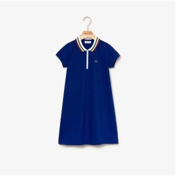 ラコステ GIRLSフレアシルエットポロワンピース レディース ブルー 8A(130cm) 【LACOSTE】
