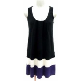 【中古】クイーンズコート ワンピース ミニ ノースリーブ 2 黒 ブラック 紫 パープル 白 ホワイト /YI レディース