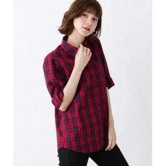 【10%OFF】 シューラルー コットンチェックシャツ レディース ワインレッド(263) 02(M) 【SHOO・LA・RUE】 【セール開催中】