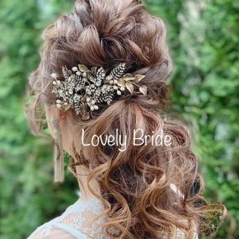 ヘアアクセサリー ゴールド ヘアコーム 髪飾り ヘッドドレス ヘッドアクセ ウェディング 結婚式 和装