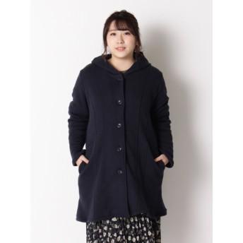 【大きいサイズレディース】【3-6L】【日本製】裏毛起毛フードコート アウター ウールコート