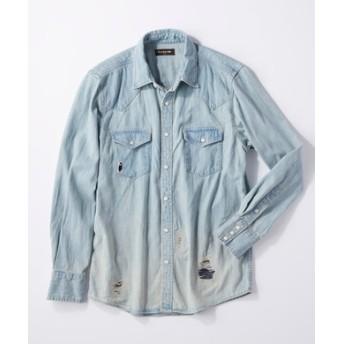 RAG MACHINE ダメージデニムウエスタンシャツ メンズ 淡加工色