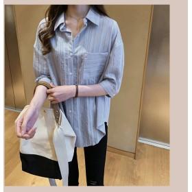 2019春夏秋の新しいスタイル レトロ ラペル Tシャツツ ブラウス 韓国ファッション カジュアル ストライプ ワイルド CHIC気質 エレガント 短いスタイル