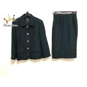 バーバリーズ Burberry's スカートスーツ サイズ7 S レディース グリーン×黒 肩パッド 新着 20190820