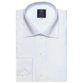 [マルイ]【セール】形態安定 ノーアイロン 長袖ワイシャツ ワイド 白×ブルーストライプ 標準体/ブリックハウス(BRICKHOUSE)