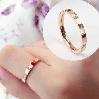 【レディースジュエリーステンレ ス316L 18Kgf ピンクゴールド リング 指輪 】ピカピカ ダイヤ 3個 リング 指輪アクセサリー 関節リング ピンキーリング 色落ちしない高品質!