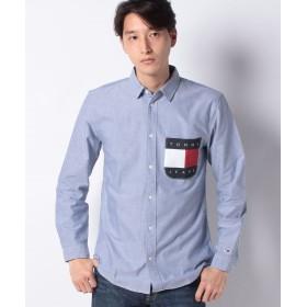 トミーヒルフィガー フラッグロゴポケットシャツ メンズ ブルー L 【TOMMY HILFIGER】