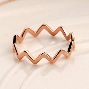 【レディースジュエリーステンレ ス316L 18Kgf ピンクゴールド リング 指輪 】曲線 リング 指輪 ピンキーリング 色落ちしない高品質!重ね付けお勧め!