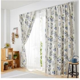 ヒダがキレイなボタニカルリーフ柄遮光カーテン ドレープカーテン(遮光あり・なし) Curtains, 窗, 窗簾