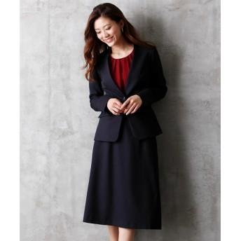 洗えるストレッチスカートスーツ(カラーレスジャケット+長め丈セミフレアスカート)【レディーススーツ】 (大きいサイズレディース)スーツ,women's suits ,plus size