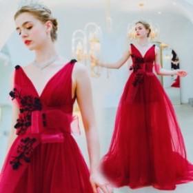 【ANGEL】ノースリーブ肌透けチュールビーズレースリボントレーンAラインロングドレス【送料無料】高品質 レッド 赤 ロングドレス パ