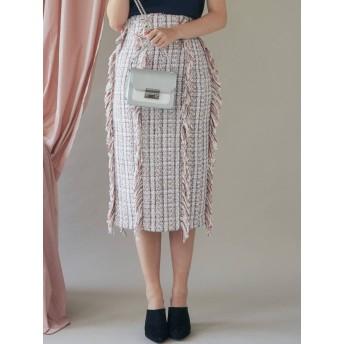 [MERCURYDUO]ツイードフリンジタイトロングスカート