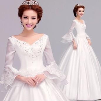 ウエディングドレス レディース オシャレ 花嫁ドレス 上品な 結婚式 Vネック ドレス 長袖 パーティードレス 演奏會ドレス 寫